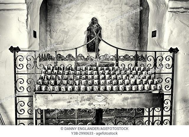 Shrine with votive candles in Mission Basilica San Diego de Alcala, in San Diego, California