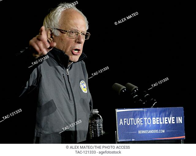 Senator Bernie Sanders holds a rally in NYC's Washington Square Park for approximately 50,000 attendees on April 13,2016 in New York CIty, New York