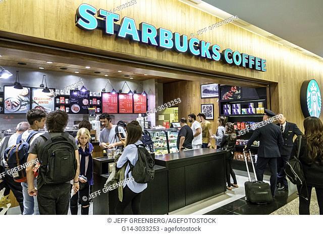 Argentina, Buenos Aires, Ministro Pistarini International Airport Ezeiza EZE, terminal concourse gate area, interior, Starbucks Coffee, coffee shop, counter