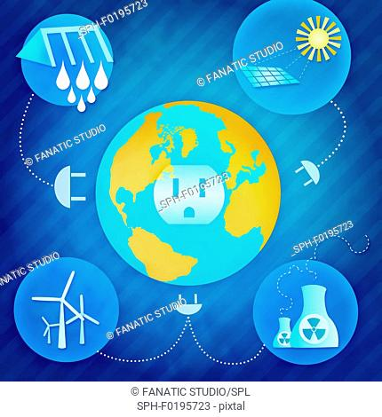 Resources of electricity production, illustration