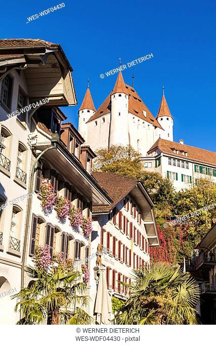 Switzerland, Canton of Bern, Thun, old town with Thun Castle