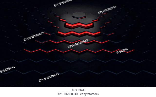 3d computer rendered illustration of hexagon pattern red