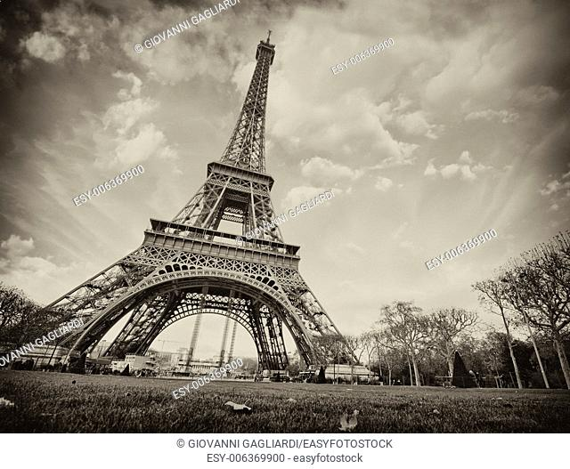 Paris. Wonderful wide angle view of Eiffel Tower from street level in December
