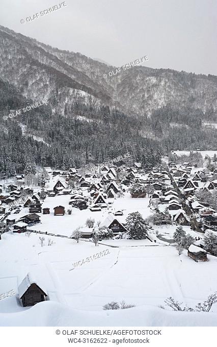 28. 12. 2017, Shirakawa-go, Gifu Prefecture, Japan, Asia - An elevated view of the snowy winter landscape around the village of Shirakawa-go