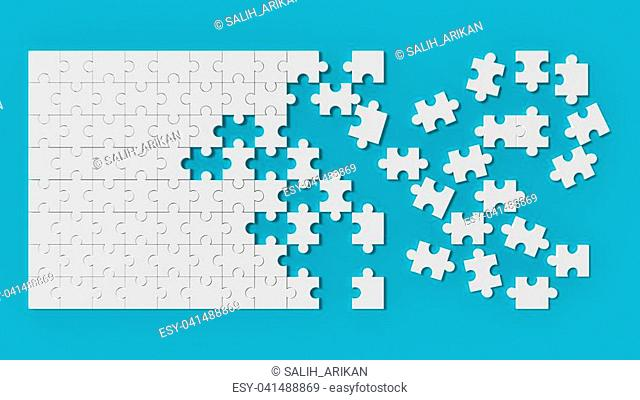 White jigsaw puzzle with unsolved pieces on blue background. 3d illustrating