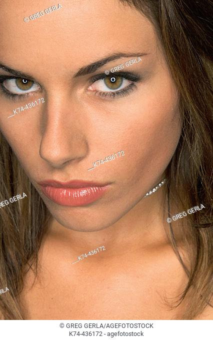 Close-up image of young woman's face