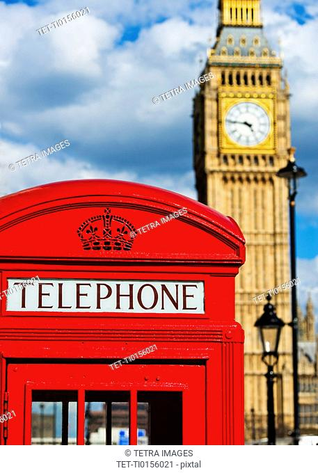 UK, London, Phone booth with Big Ben behind