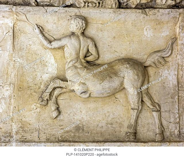 Roman frieze showing centaur, mythological creature with the head, arms, and torso of a human and the body and legs of a horse