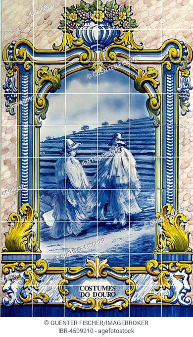 Hand-painted azulejo, ceramic tile with motif wine growers, wine region Alto Douro, Pinhao, Portugal