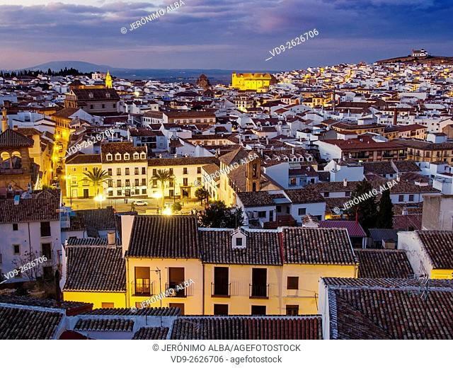 Sunset, monumental city Antequera, Malaga province. Andalusia southern Spain