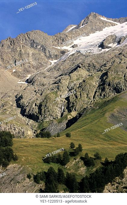 Glaciers on the Barre des Ecrins and Rateau mountains in the French Alps, France