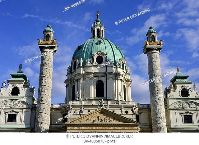 Baroque Karlskirche church designed by Johann Bernhard Fischer von Erlach, Karlsplatz square, Vienna, Austria