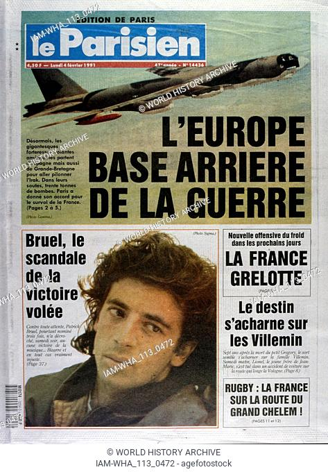 Front Page of the French publication 'Le Parisien' reporting on air operations by the allies, in the Gulf War. February, 1991