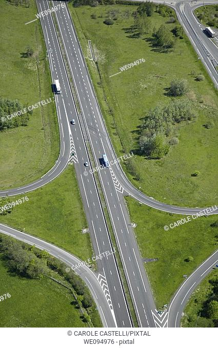Aerial view of a french highway  North of France