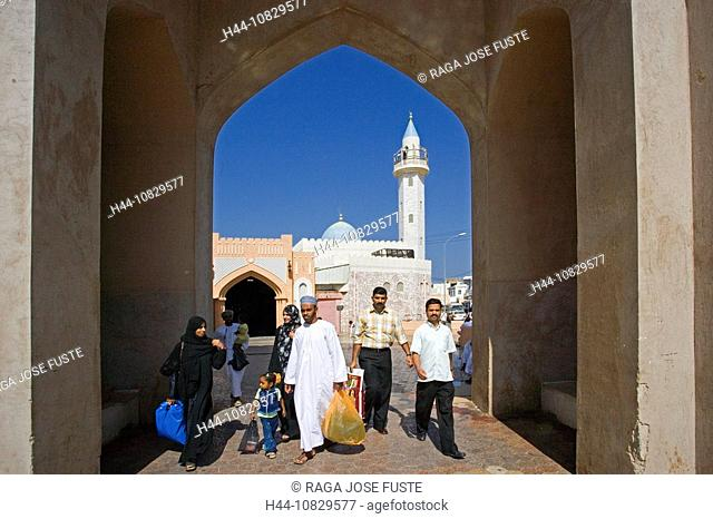 Oman, Arabia, East, person, street scene, town, city, Old Town, Muttrah, courage yard, Maskat, Muscat, mosque