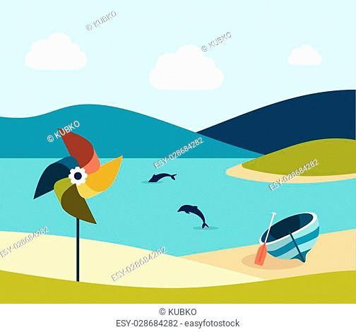 Summer beach with yellow umbrella. Flat design