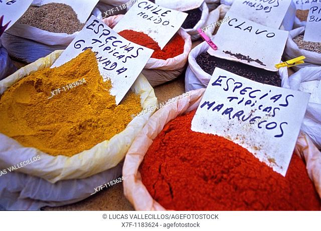 Detail of Spice stall in Cárcel Baja street Granada  Andalucia, Spain