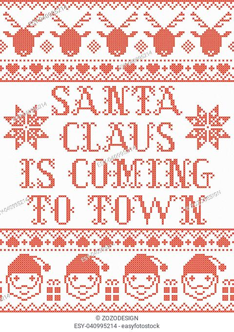 Santa Claus is coming to town Scandinavian vector seamless pattern inspired by Nordic culture festive winter in cross stitch with heart, snowflake, star, snow