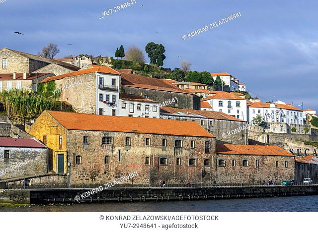 Old port wine cellars on Cais de Gaia street in Vila Nova de Gaia city, Portugal