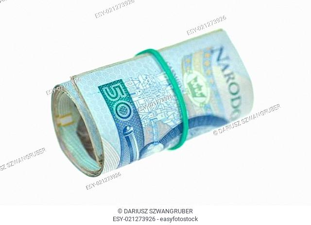 roll of polish banknotes isolated on white