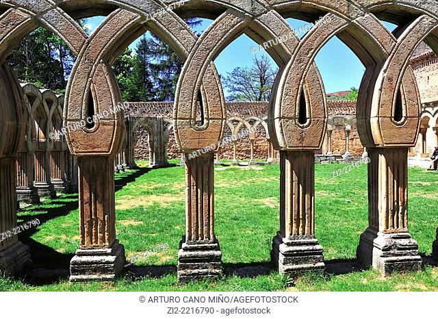 The Romanesque Monastery of San Juan de Duero, XIIth century, archs in the cloister. Soria, Spain