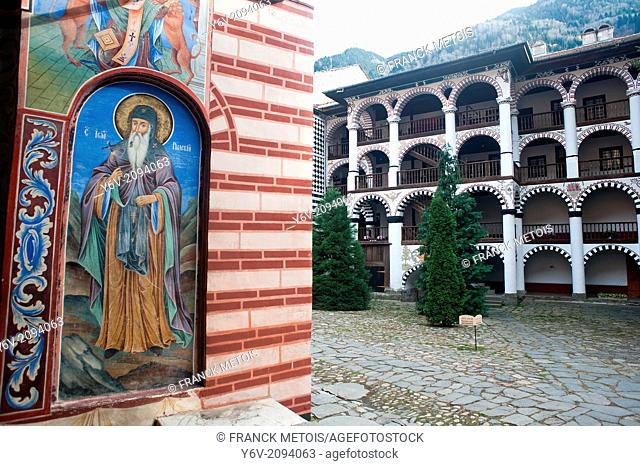 Mural painting depicting Saint John, the founder of the monastery of Rila. Rila monastery Bulgaria