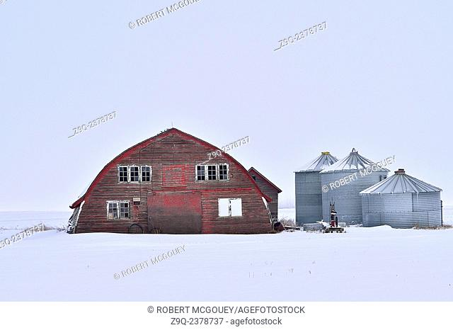 An old red barn on a farm in rural Alberta with steel grain storage sheds on a white winters day