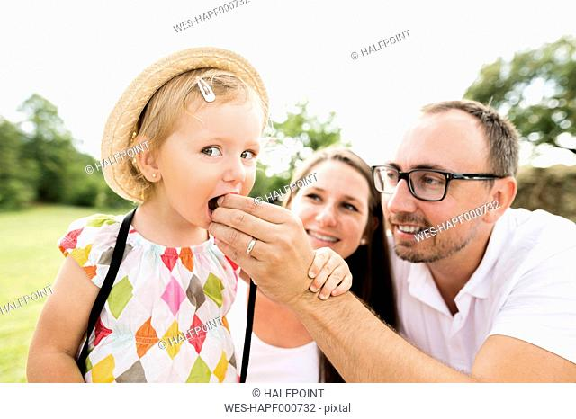 Happy family in park, father feeding daughter