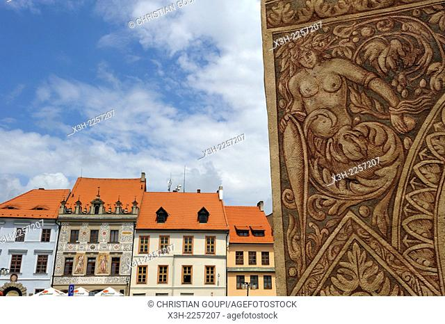 mural decoration of an old house on the main square of the old town of Prachatice, South Bohemian Region, Czech Republic, Europe
