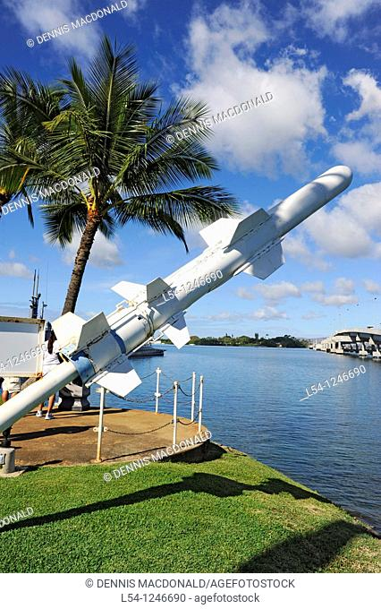 Harpoon Missile on display at Pearl Harbor Pacific National Monument Hawaii