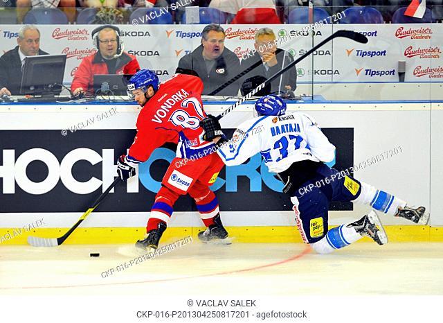 Michal Vondrka (left) of Czech Republic and Juha-Pekka Haataja of Finland during the Czech Hockey Games ice hockey match Czech Republic vs Finland in Brno