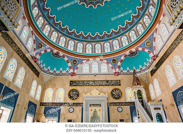 Interior view of Center Isabey Mosque in Bursa,Turkey. 20 May 2018