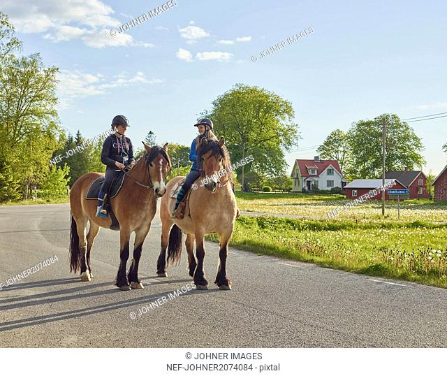 Friends riding horses in countryside