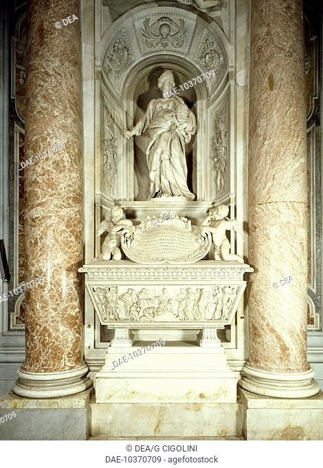 Tomb of Countess Matilda, 1635, by sculptors Andrea Bolgi and Stefano Speranza, from designs by Gian Lorenzo Bernini (1598-1680), St Peter's Basilica, Rome