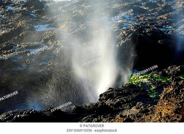 Powerful Pacific Ocean Blast at Cape Perpetua on Oregon Coast