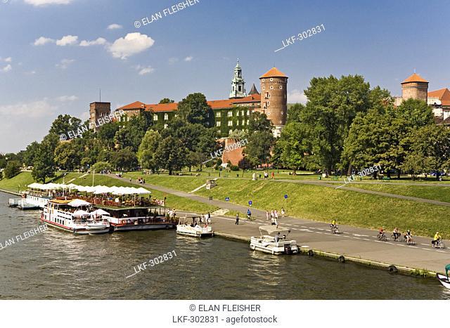 Embankment of the river Wisla under the Royal Castle, Krakow, Poland, Europe