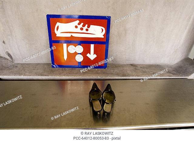 Thailand, Bangkok, Summer Palace at Bang Na, Sign pointing to where to put your shoes