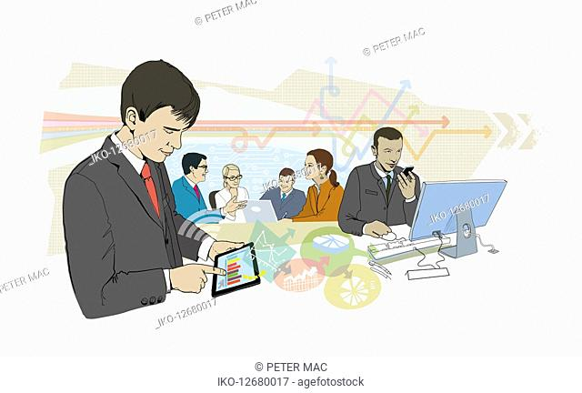 Business people connected using variety of computer technology devices