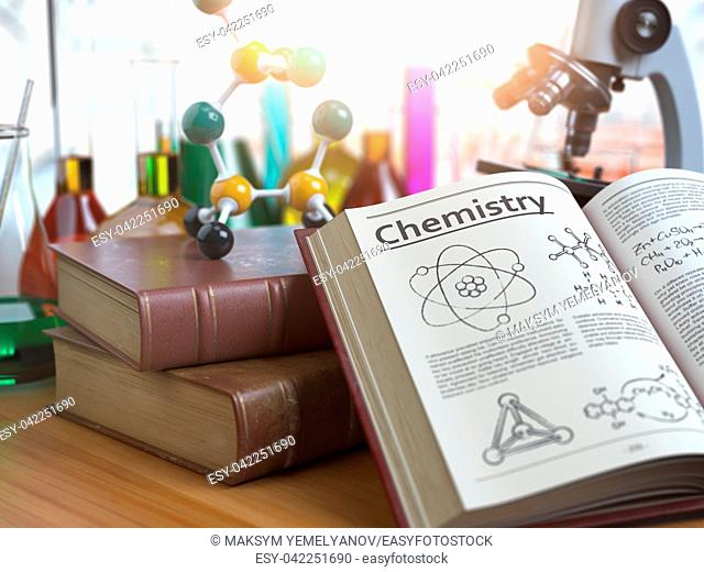 Chemistry education concept. Open books with text chemistry and formulas and textbooks, flasks with liquids and microscope in a classroom or a laboratory