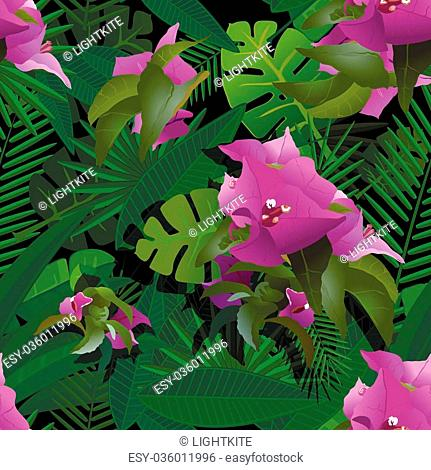 tropical plants painting seamless background vector