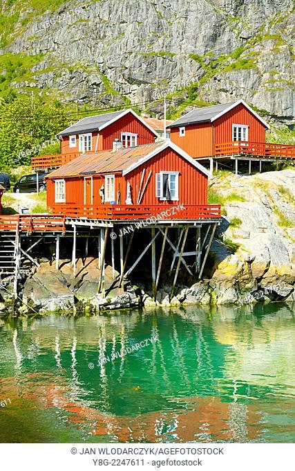 Traditional red wooden huts on Moskenesoya Island, Lofoten Islands, Norway