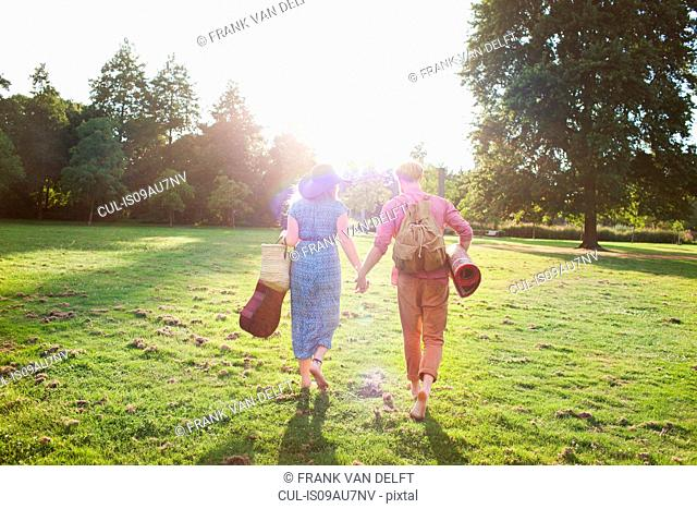 Rear view of romantic young couple carrying rug in park