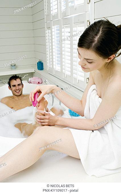 Couple having a bath