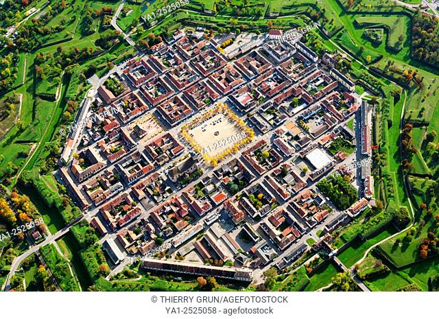 France, Haut Rhin 68, Neuf-Brisach town classified Unesco world heritage site, Town fortified desoigned by Vauban aerial view
