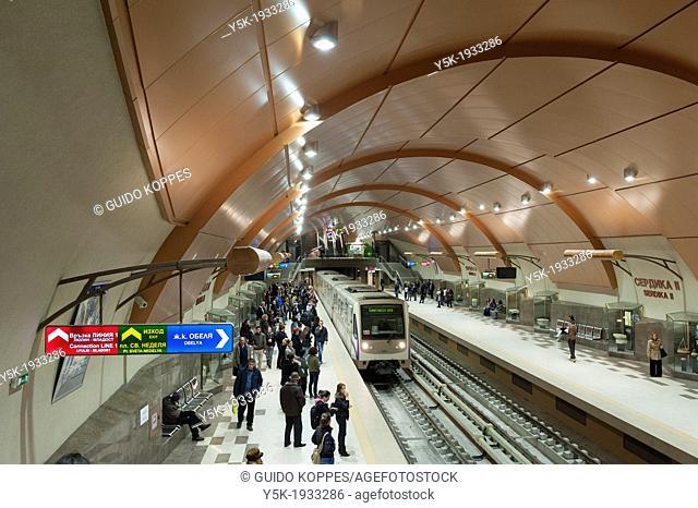 Sofia, Bulgaria. Serdika II subway station in the Bulgarian Capital. One of the buzziest underground stations of Sofia