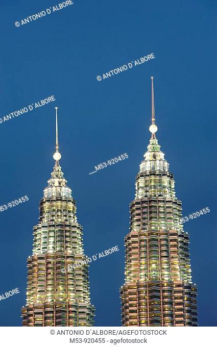 the petronas towers at sunses with copy spacekuala lumpur. malaysia. asia