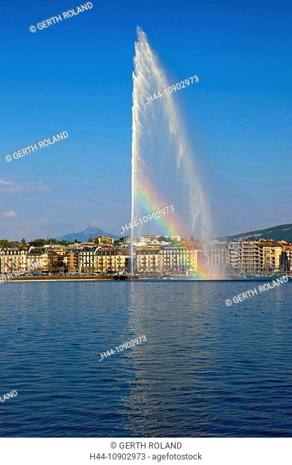 Geneva, Switzerland, Europe, canton Geneva, town, city, houses, homes, harbour, port, fountain, jet d'eau, Genevan, lake, Leman, rainbow