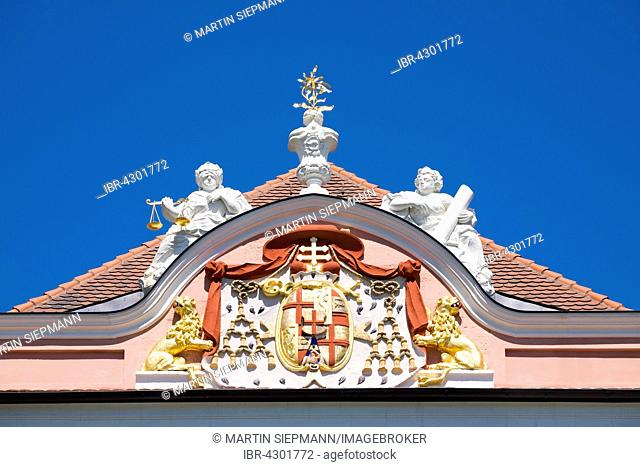 Coat of arms on west side, Neues Schloss or New Castle, Meersburg, Lake Constance, Bodenseekreis, Upper Swabia, Baden-Württemberg, Germany