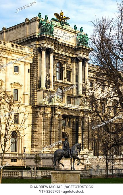 Neue Burg building part of the Hofburg palace complex seen from Burggarten. Vienna, Austria
