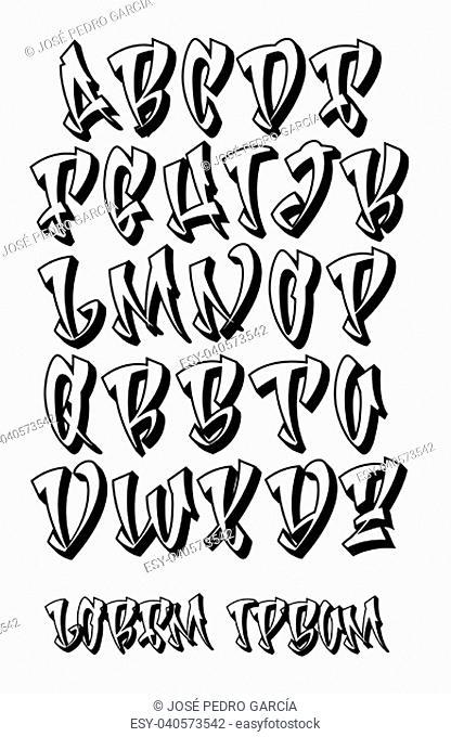Vectorial font in graffiti hand written 3D style. Capital letters alphabet